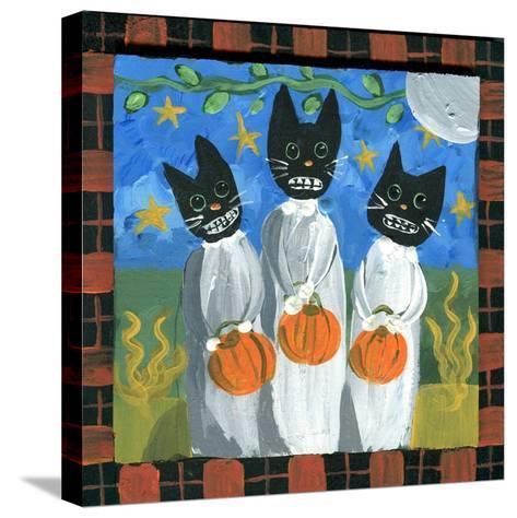 Folk Art Black Cats Halloween-sylvia pimental-Stretched Canvas Print