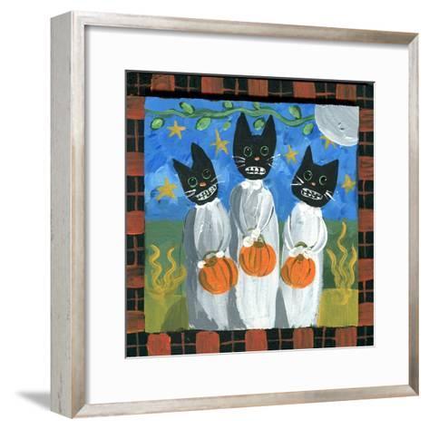 Folk Art Black Cats Halloween-sylvia pimental-Framed Art Print