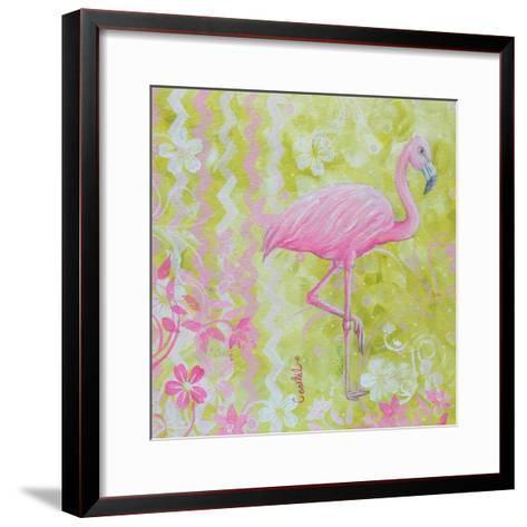 Green and Pink Flowers Flamingo Bird-Megan Aroon Duncanson-Framed Art Print