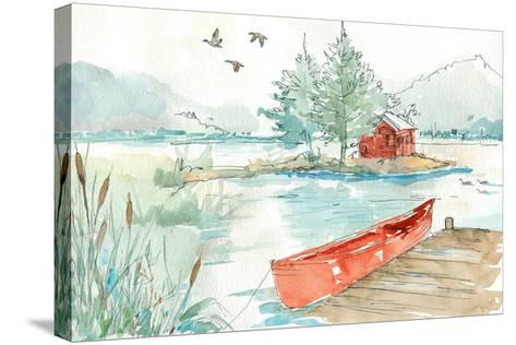 Lakehouse II Red-Anne Tavoletti-Stretched Canvas Print