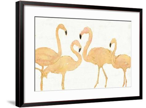 Flamingo Fever I no Splatter Gold-Anne Tavoletti-Framed Art Print