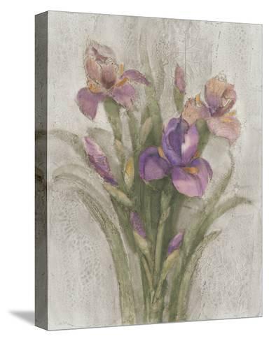 Purple Iris Garden on Grey-Albena Hristova-Stretched Canvas Print