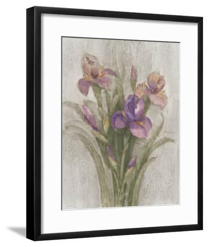 Purple Iris Garden on Grey-Albena Hristova-Framed Art Print