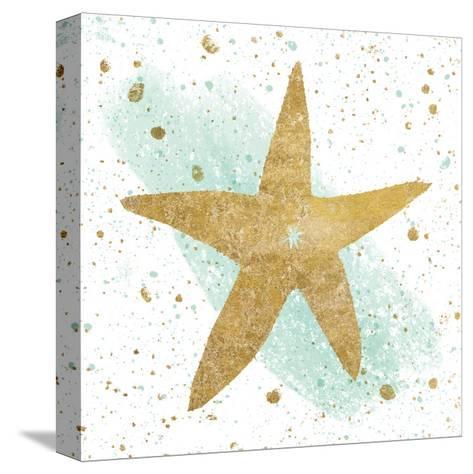 Silver Sea Life Aqua Starfish-Wild Apple Portfolio-Stretched Canvas Print