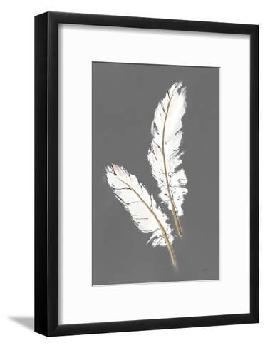 Gold Feathers I on Grey-Chris Paschke-Framed Art Print
