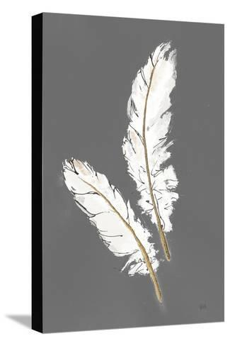 Gold Feathers I on Grey-Chris Paschke-Stretched Canvas Print