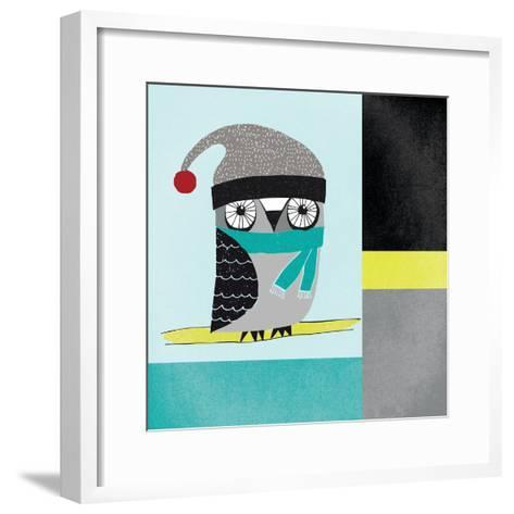 Owls IV Blue Gray and Yellow-Cheryl Warrick-Framed Art Print