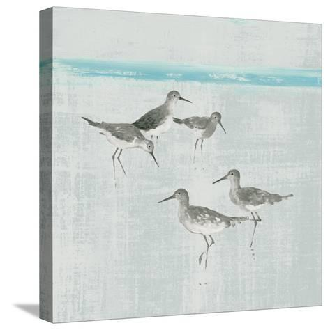 Sandpipers Square I Gray-Avery Tillmon-Stretched Canvas Print