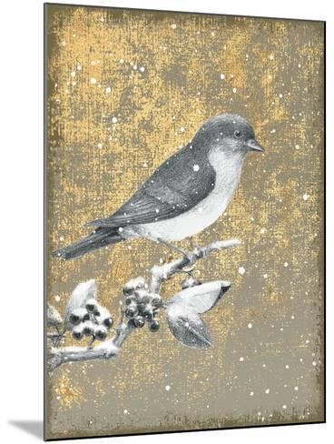 Winter Birds Bluebird Neutral-Beth Grove-Mounted Art Print