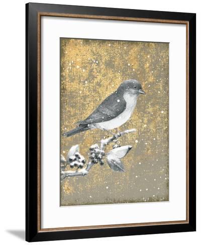 Winter Birds Bluebird Neutral-Beth Grove-Framed Art Print