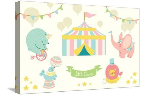 Little Circus Pastel-Cleonique Hilsaca-Stretched Canvas Print