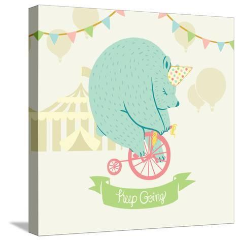 Little Circus Bear Pastel-Cleonique Hilsaca-Stretched Canvas Print