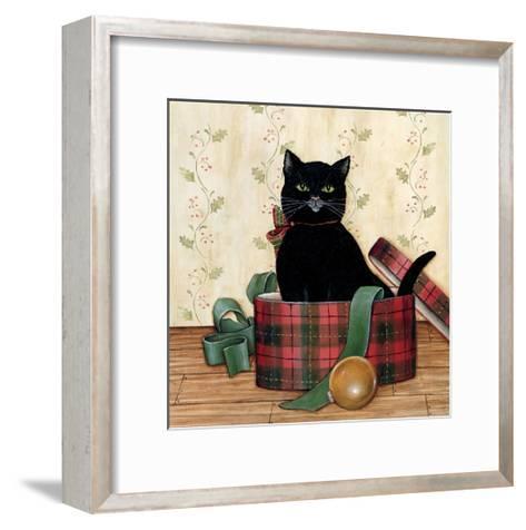Christmas Kitty IV-David Cater Brown-Framed Art Print
