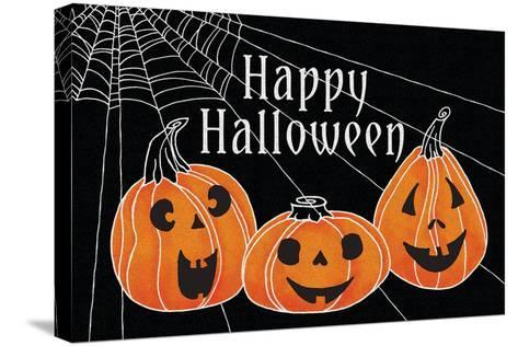 Spooky Jack O Lanterns Three Pumpkins-Elyse DeNeige-Stretched Canvas Print