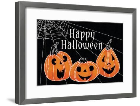 Spooky Jack O Lanterns Three Pumpkins-Elyse DeNeige-Framed Art Print