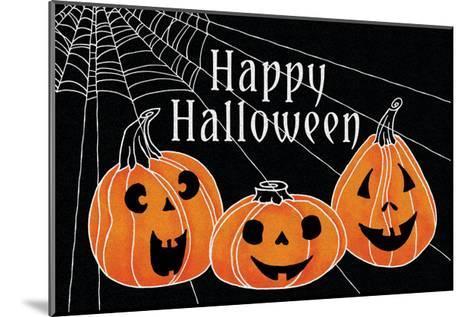 Spooky Jack O Lanterns Three Pumpkins-Elyse DeNeige-Mounted Art Print