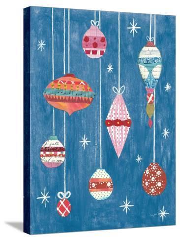 Retro Ornament II Blue-Courtney Prahl-Stretched Canvas Print