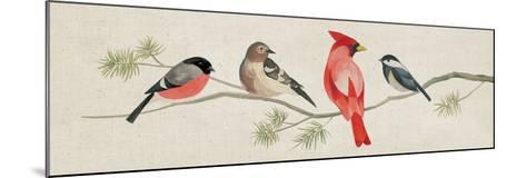 Festive Birds Panel I Linen-Danhui Nai-Mounted Art Print