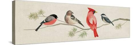 Festive Birds Panel I Linen-Danhui Nai-Stretched Canvas Print