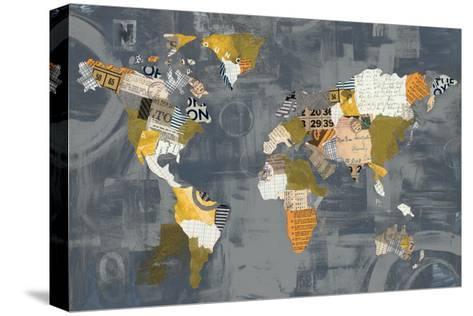 Golden World on Grey-Courtney Prahl-Stretched Canvas Print