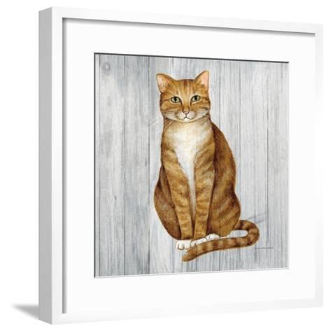 Country Kitty II on Wood-David Cater Brown-Framed Art Print