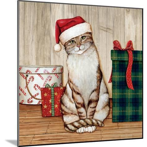 Christmas Kitty on Planked Wood-David Cater Brown-Mounted Art Print