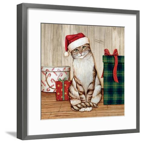 Christmas Kitty on Planked Wood-David Cater Brown-Framed Art Print