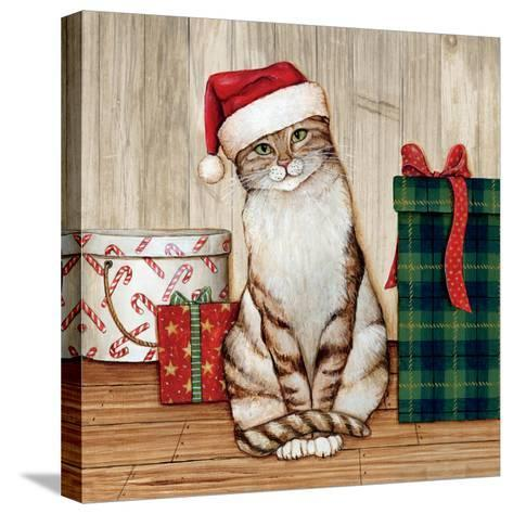 Christmas Kitty on Planked Wood-David Cater Brown-Stretched Canvas Print