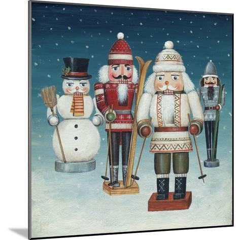 Skier Nutcrackers Snow-David Cater Brown-Mounted Art Print