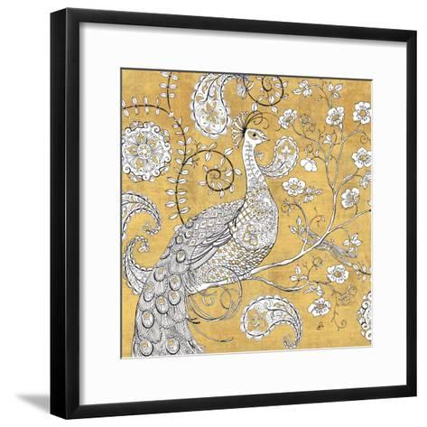 Color my World Ornate Peacock I Gold-Daphne Brissonnet-Framed Art Print