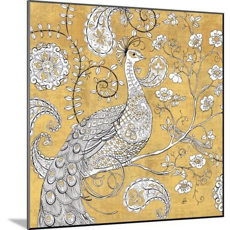 Color my World Ornate Peacock I Gold-Daphne Brissonnet-Mounted Art Print