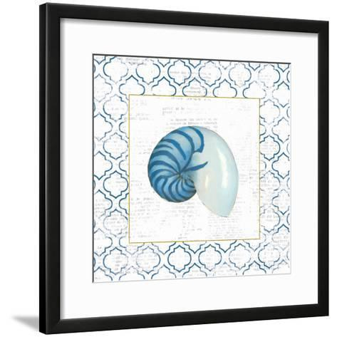 Navy Nautilus Shell on Newsprint with Gold-Emily Adams-Framed Art Print