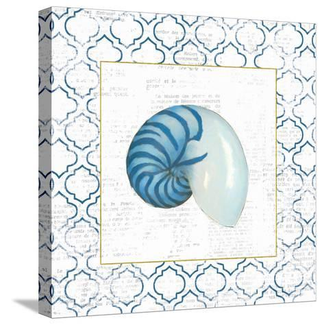 Navy Nautilus Shell on Newsprint with Gold-Emily Adams-Stretched Canvas Print