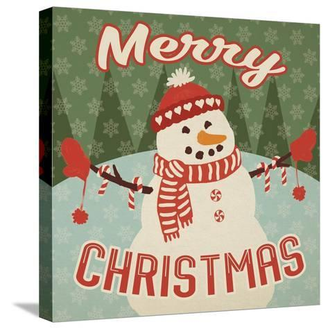 Retro Christmas VII Merry Christmas-Janelle Penner-Stretched Canvas Print