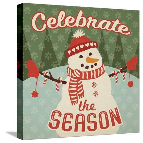 Retro Christmas VII Celebrate the Season-Janelle Penner-Stretched Canvas Print