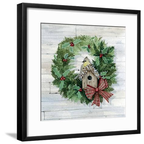 Holiday Wreath III on Wood-Kathleen Parr McKenna-Framed Art Print