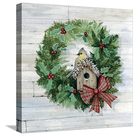 Holiday Wreath III on Wood-Kathleen Parr McKenna-Stretched Canvas Print