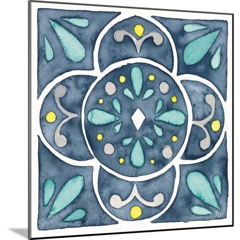 Garden Getaway Tile VII Blue-Laura Marshall-Mounted Art Print