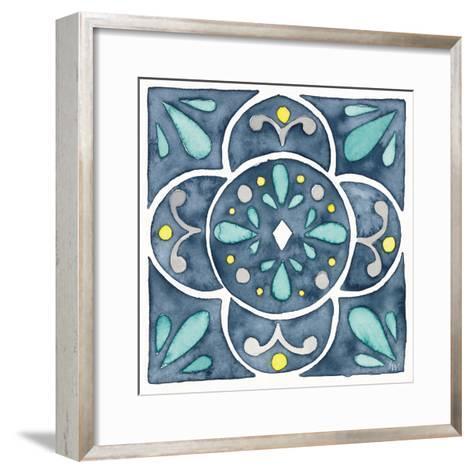 Garden Getaway Tile VII Blue-Laura Marshall-Framed Art Print