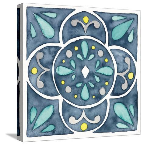 Garden Getaway Tile VII Blue-Laura Marshall-Stretched Canvas Print