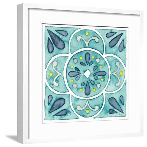 Garden Getaway Tile VII Teal-Laura Marshall-Framed Art Print