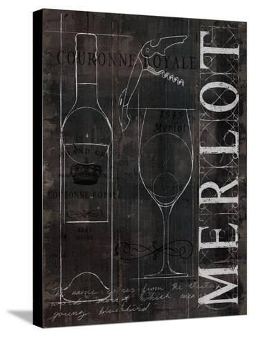 Wine Blueprint II v2 Charcoal Distressed-Marco Fabiano-Stretched Canvas Print