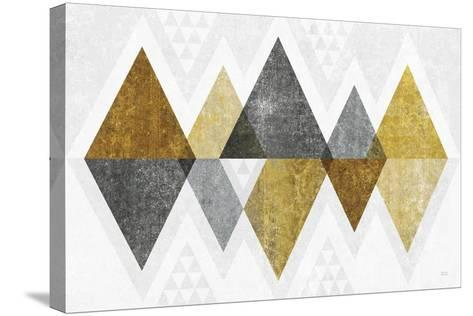 Mod Triangles II Gold-Michael Mullan-Stretched Canvas Print