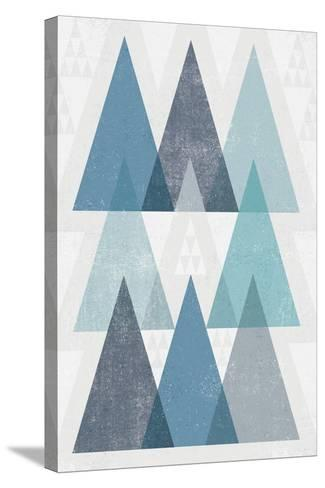 Mod Triangles IV Blue-Michael Mullan-Stretched Canvas Print