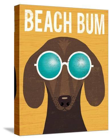 Beach Bums Dachshund I Bum-Michael Mullan-Stretched Canvas Print