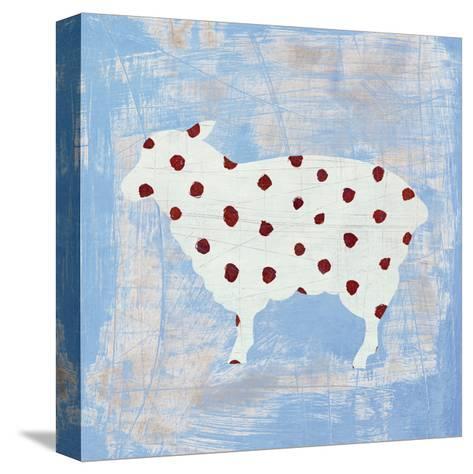 Modern Americana Farm II on Blue-Melissa Averinos-Stretched Canvas Print