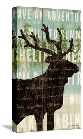Simple Living Elk Script-Michael Mullan-Stretched Canvas Print