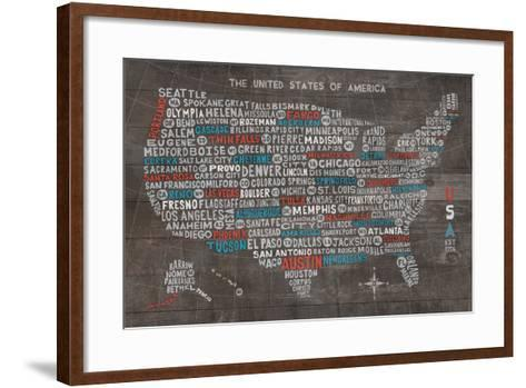US City Map on Wood Gray-Michael Mullan-Framed Art Print