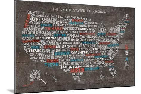 US City Map on Wood Gray-Michael Mullan-Mounted Art Print