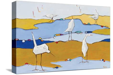 Marsh Egrets VI Dark Sand-Phyllis Adams-Stretched Canvas Print